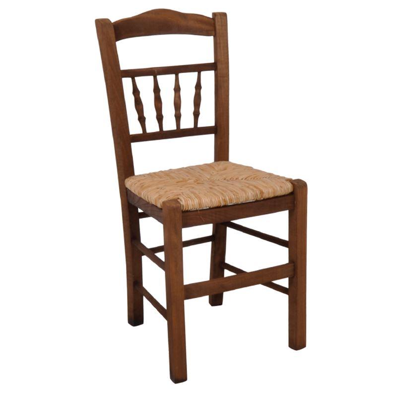 ΑΝΤΙΚΑ καρέκλα Εμποτισμός Καρυδί/Ψάθα