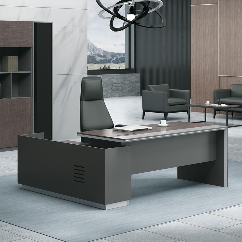 ADVANCE Γραφείο -Δεξ-220x160cm Σκ.Καρυδί/Γκρι