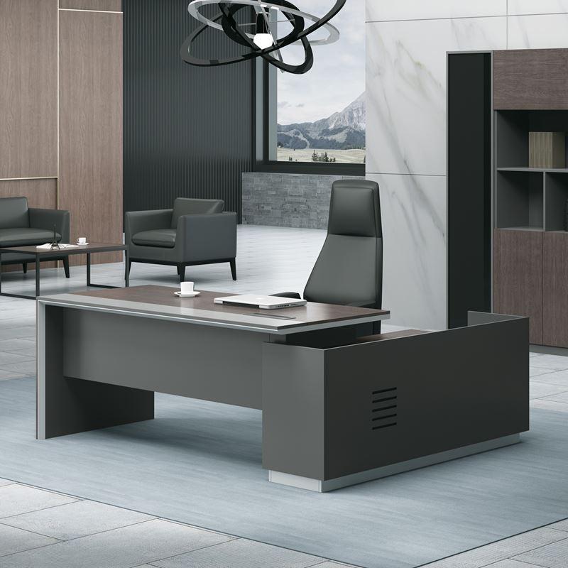 ADVANCE Γραφείο -Αρ-240x160cm Σκ.Καρυδί/Γκρι