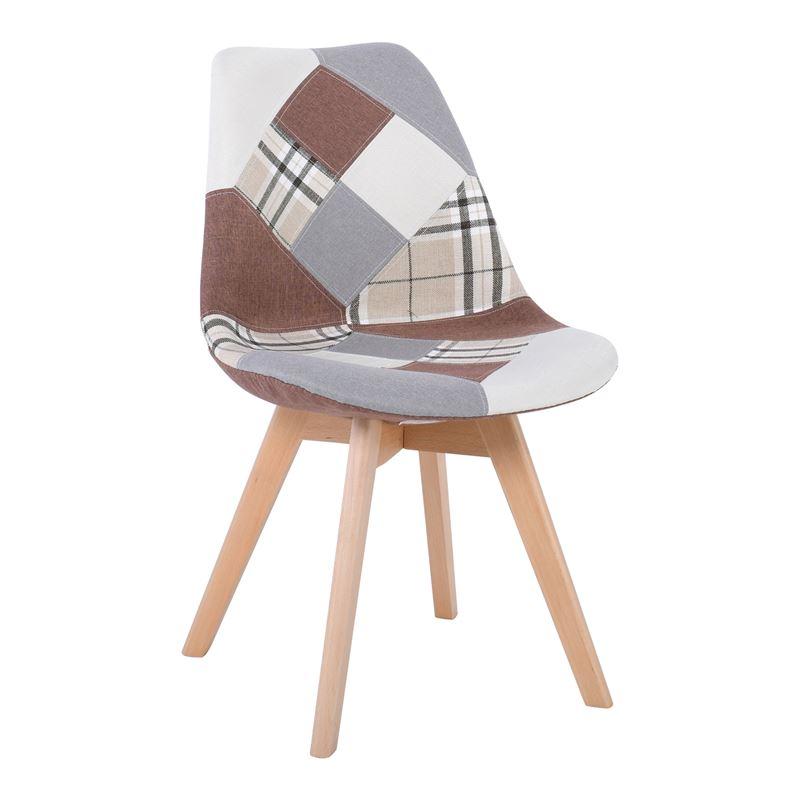 MARTIN Καρέκλα Ύφασμα Patchwork Brown/Ξύλινο πόδι