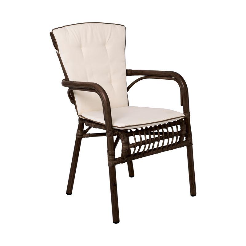 PANTHEON Πολυθρόνα ALU-Wicker Καφέ/Μαξιλάρι Μπεζ