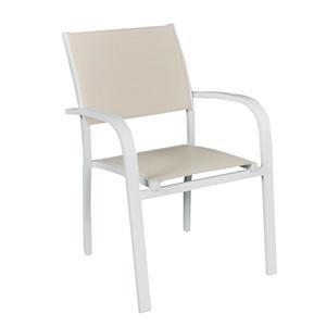 AMIRAL Πολυθρόνα ALU Λευκό/Textilene Μπεζ