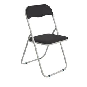 LINDA Καρέκλα Πτυσ/νη Pvc Μαύρο (Βαφή Γκρι)