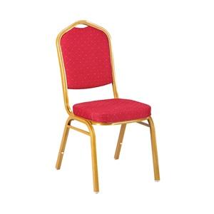 HILTON-D Καρέκλα Μεταλλική Gold/Ύφασμα Κόκκινο