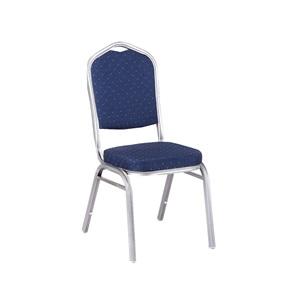 HILTON-D Καρέκλα Μεταλλική Silver/Ύφασμα Μπλε