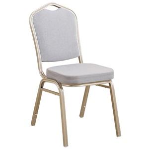 HILTON Καρέκλα Μεταλλική Light Gold/Ύφασμα Γκρι