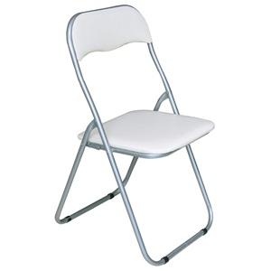 LINDA Καρέκλα Πτυσ/νη Pvc Άσπρο (Βαφή Γκρι)