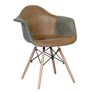 ALEA Wood Πολυθρόνα PP, Ύφασμα Γκρι/Καφέ