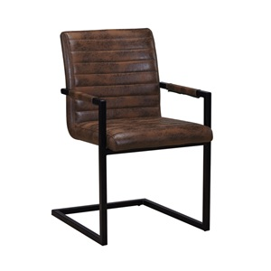 ALTO Πολυθρόνα Μεταλλική Μαύρη/Ύφασμα Vintage Brown