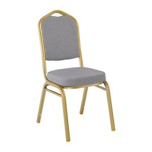 HILTON Καρέκλα Μεταλλική Champagne/Ύφασμα Γκρι