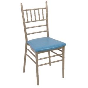 Καρέκλα ILONA Μεταλ.Champagne/Pu Μπλε