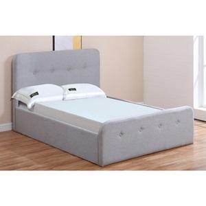 ACCORD Κρεβάτι (για στρώμα 140x190cm) Ύφασμα Γκρι/Αποθ.Χώρος