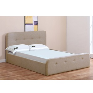ACCORD Κρεβάτι (για στρώμα160x200cm) Ύφασμα Μπεζ/Αποθ.Χώρος
