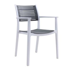 AKRON Πολυθρόνα PP Λευκή/Γκρι