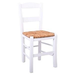 ΣΥΡΟΣ Καρέκλα Ψάθα Εμποτ.Λάκα Άσπρο