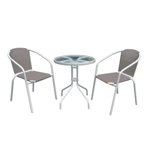 BALENO Set (Τραπ.Φ60cm+2 Πολ) Μεταλ.Άσπρο/Textilene Cappuccino