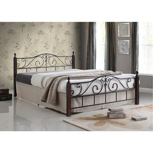 ADEL Κρεβάτι (για στρώμα 160x200) Μεταλ.Μαύρο/Ξύλο Καρυδί