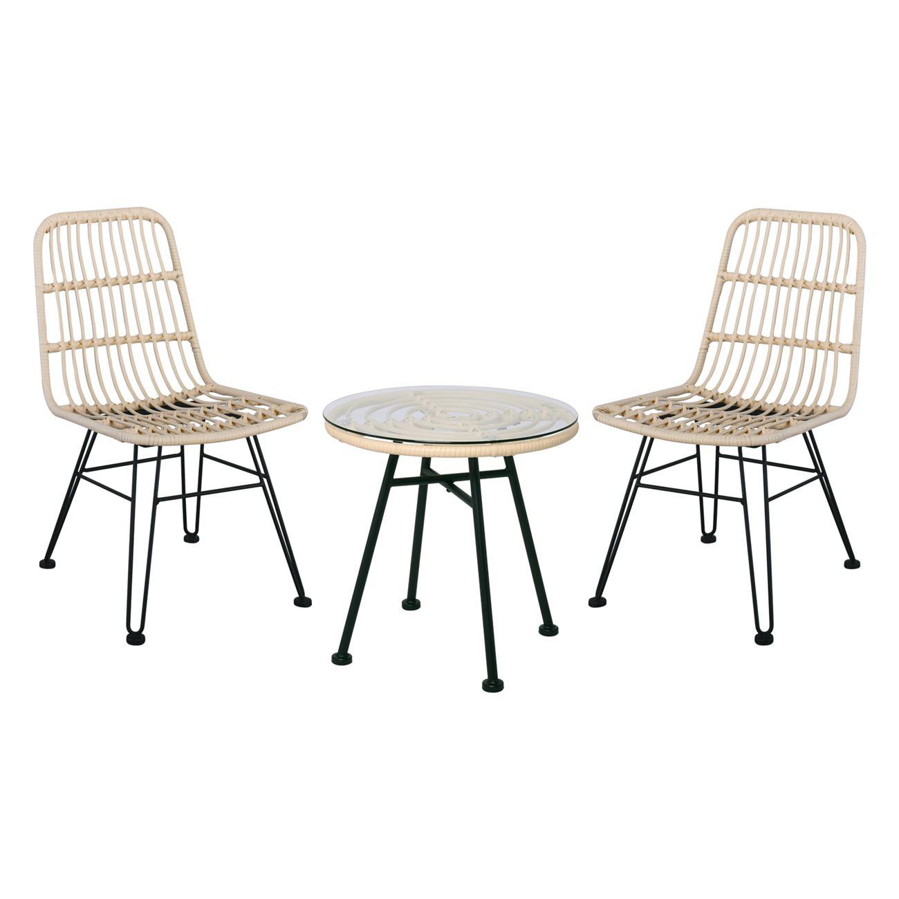 SALSA Set Καρέκλα (Τρ.Φ48cm+2Καρ) Μετ.Μαύρο/Wicker Ivory